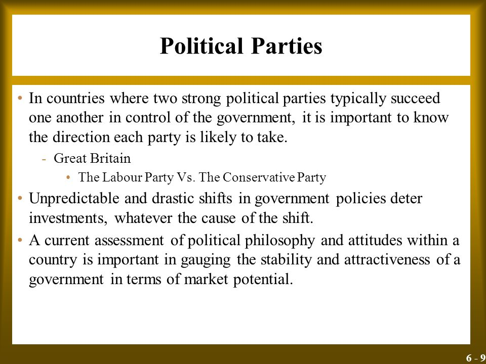 6 - 9 Political Parties In countries where two strong political parties typically succeed one another in control of the government, it is important to