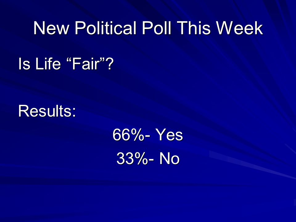 New Political Poll This Week Is Life Fair Results: 66%- Yes 33%- No