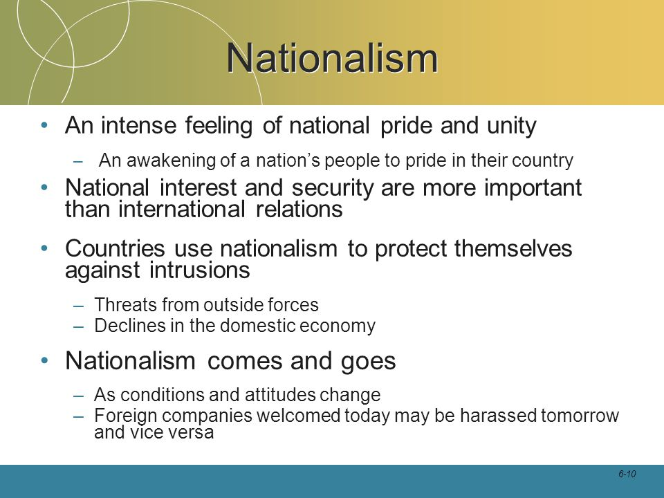 6-10 Nationalism An intense feeling of national pride and unity – An awakening of a nation's people to pride in their country National interest and se