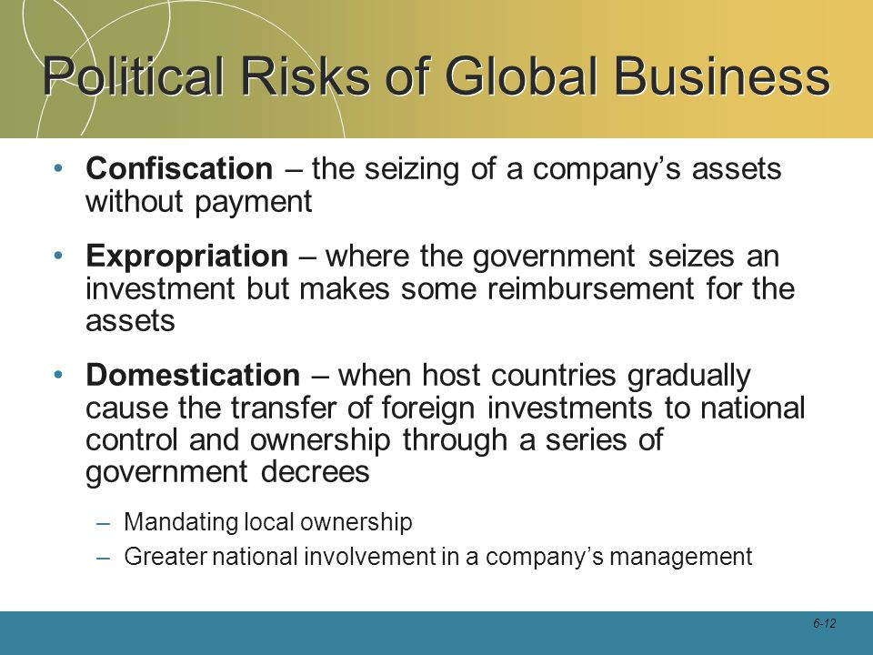 6-12 Political Risks of Global Business Confiscation – the seizing of a company's assets without payment Expropriation – where the government seizes a