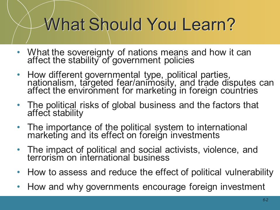 6-2 What Should You Learn? What the sovereignty of nations means and how it can affect the stability of government policies How different governmental