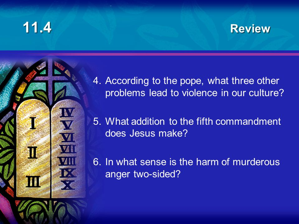 11.4 Review 4.According to the pope, what three other problems lead to violence in our culture? 5.What addition to the fifth commandment does Jesus ma