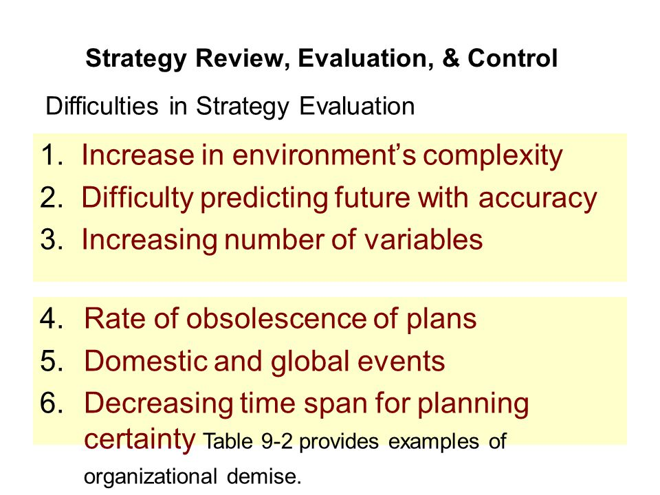 Strategy Review, Evaluation, & Control 1.Increase in environment's complexity 2.Difficulty predicting future with accuracy 3.Increasing number of vari