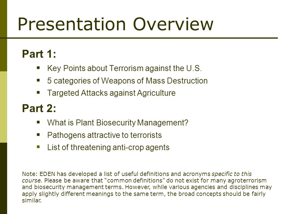 Presentation Overview Part 1:  Key Points about Terrorism against the U.S.