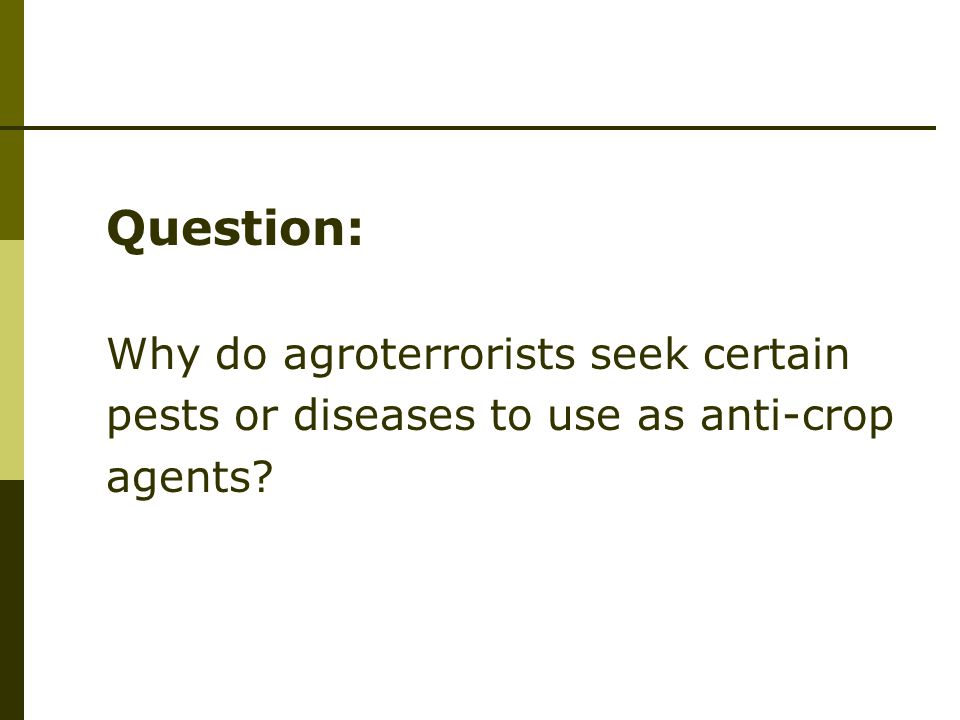 Question: Why do agroterrorists seek certain pests or diseases to use as anti-crop agents?