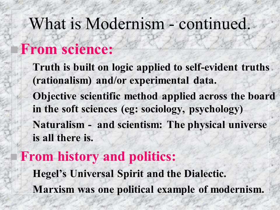 Post Modernism. First what is meant by Modernism.