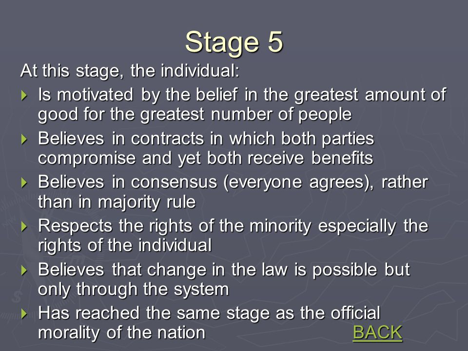 Stage 5 At this stage, the individual:  Is motivated by the belief in the greatest amount of good for the greatest number of people  Believes in contracts in which both parties compromise and yet both receive benefits  Believes in consensus (everyone agrees), rather than in majority rule  Respects the rights of the minority especially the rights of the individual  Believes that change in the law is possible but only through the system  Has reached the same stage as the official morality of the nation BACK BACK