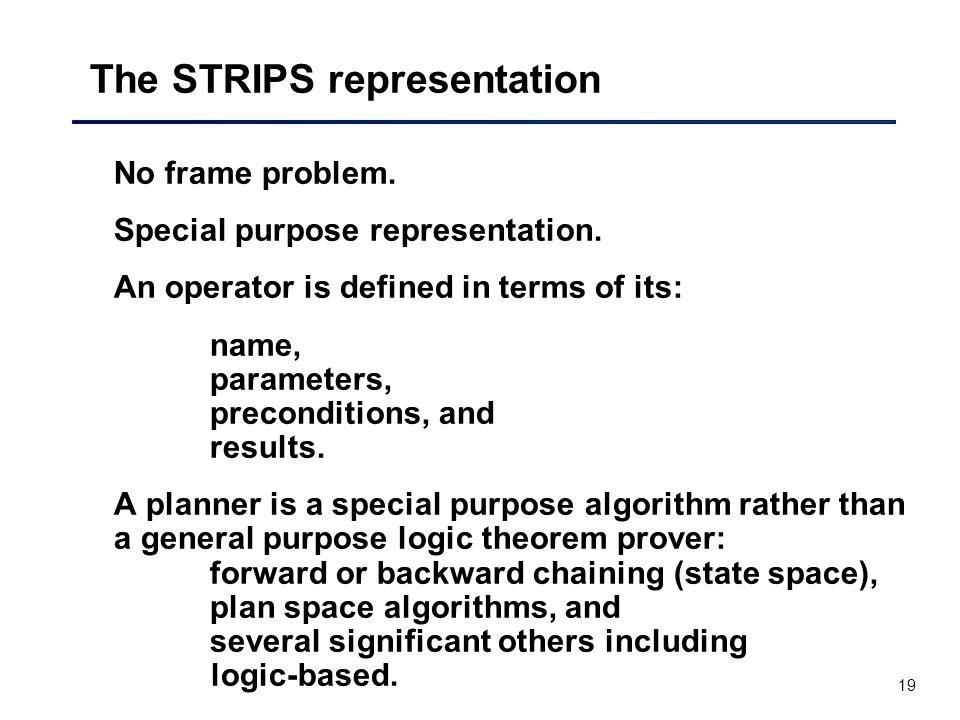 19 The STRIPS representation No frame problem.Special purpose representation.