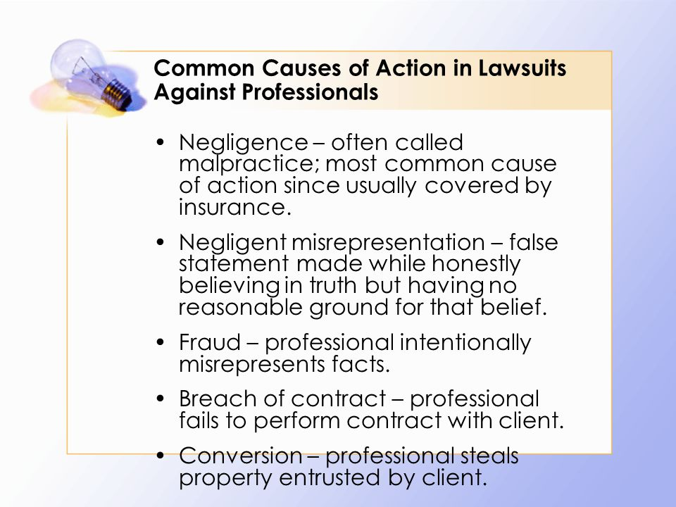 Negligence – Generally Refer to the elements of any negligence case Defendant must owe duty of care to plaintiff, Defendant must breach duty owed to plaintiff, and This breach must cause damage to plaintiff.