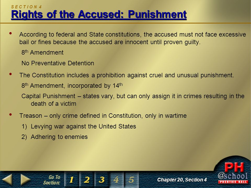 Rights of the Accused: Punishment S E C T I O N 4 Rights of the Accused: Punishment According to federal and State constitutions, the accused must not face excessive bail or fines because the accused are innocent until proven guilty.