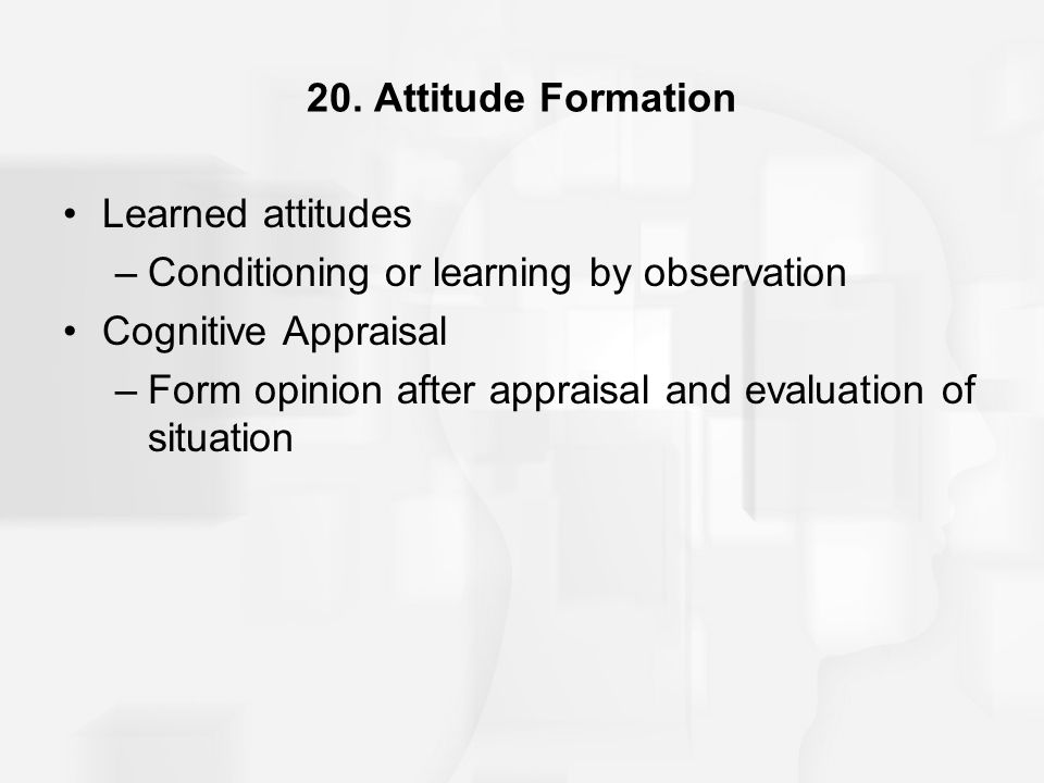20. Attitude Formation Learned attitudes –Conditioning or learning by observation Cognitive Appraisal –Form opinion after appraisal and evaluation of