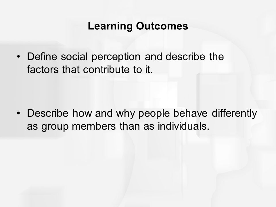 Learning Outcomes Define social perception and describe the factors that contribute to it. Describe how and why people behave differently as group mem