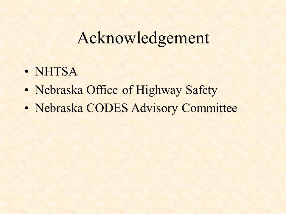 Acknowledgement NHTSA Nebraska Office of Highway Safety Nebraska CODES Advisory Committee