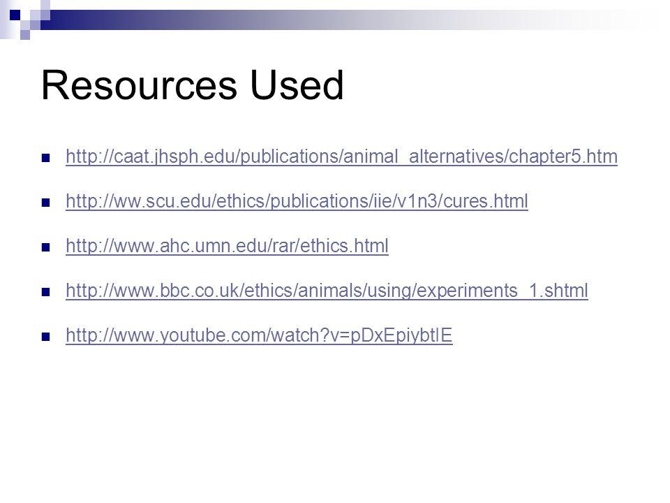 Resources Used http://caat.jhsph.edu/publications/animal_alternatives/chapter5.htm http://ww.scu.edu/ethics/publications/iie/v1n3/cures.html http://www.ahc.umn.edu/rar/ethics.html http://www.bbc.co.uk/ethics/animals/using/experiments_1.shtml http://www.youtube.com/watch v=pDxEpiybtIE