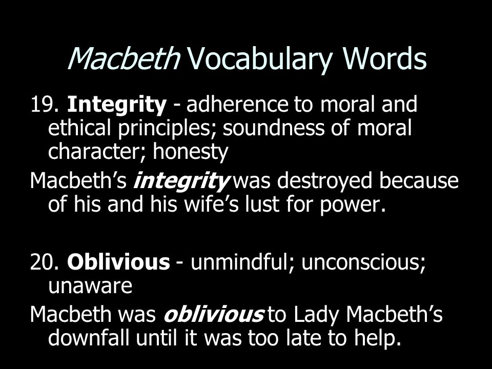 Macbeth Vocabulary Words 19.