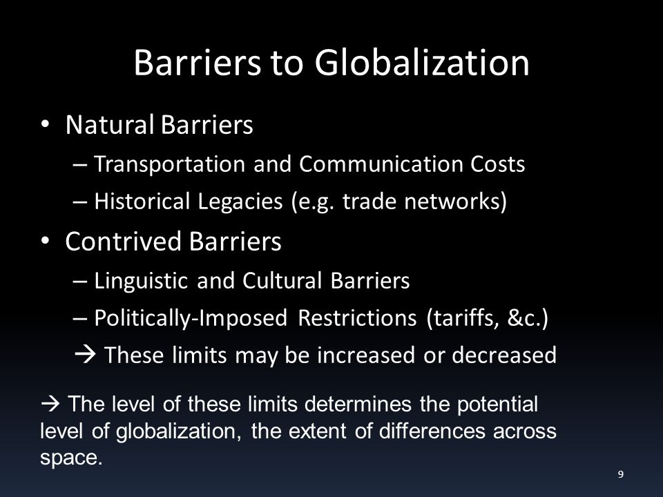 Barriers to Globalization Natural Barriers – Transportation and Communication Costs – Historical Legacies (e.g.