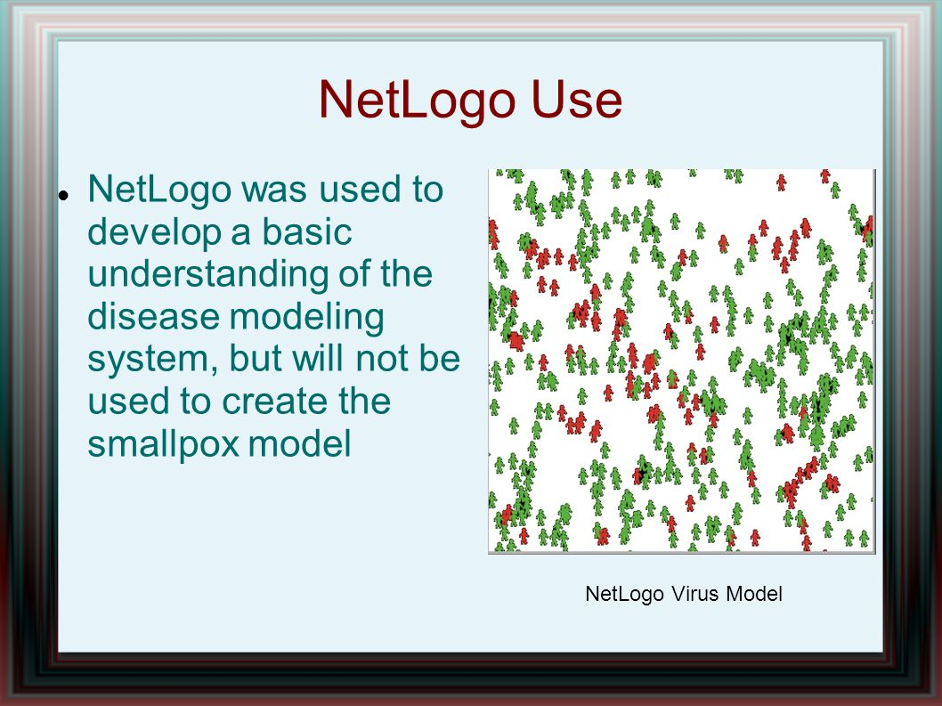 NetLogo Use NetLogo was used to develop a basic understanding of the disease modeling system, but will not be used to create the smallpox model NetLogo Virus Model