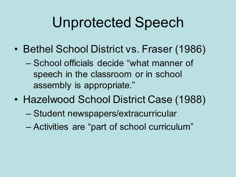 Unprotected Speech Bethel School District vs.