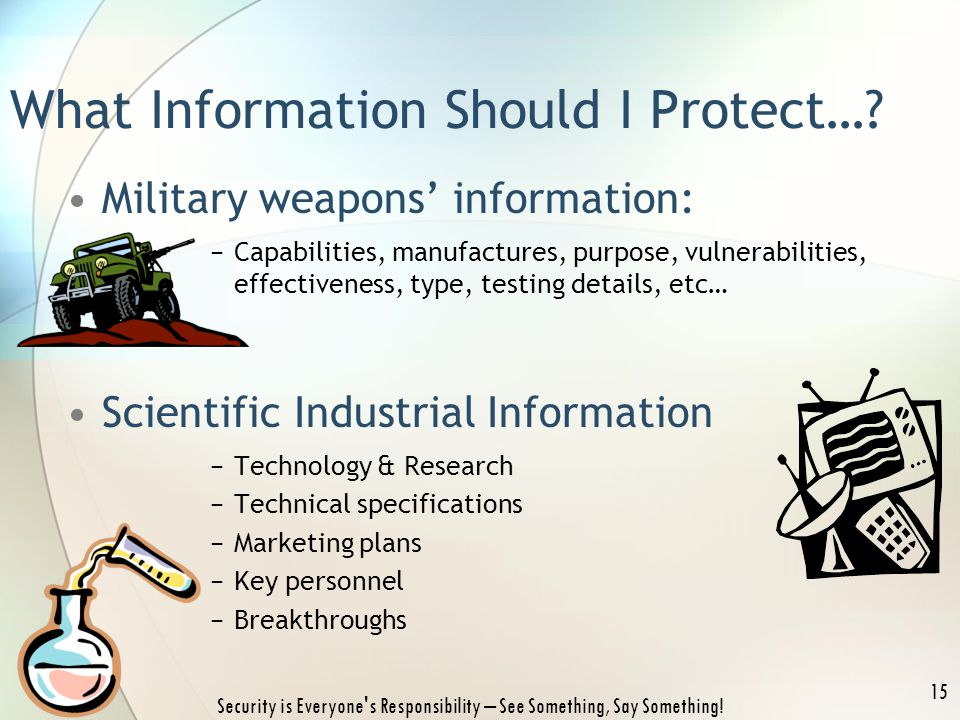 Security is Everyone's Responsibility – See Something, Say Something! 15 What Information Should I Protect…? Military weapons' information: −Capabilit