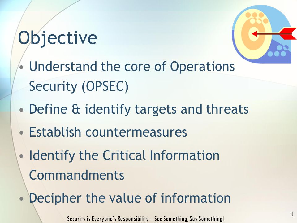 Understand the core of Operations Security (OPSEC) Define & identify targets and threats Establish countermeasures Identify the Critical Information C