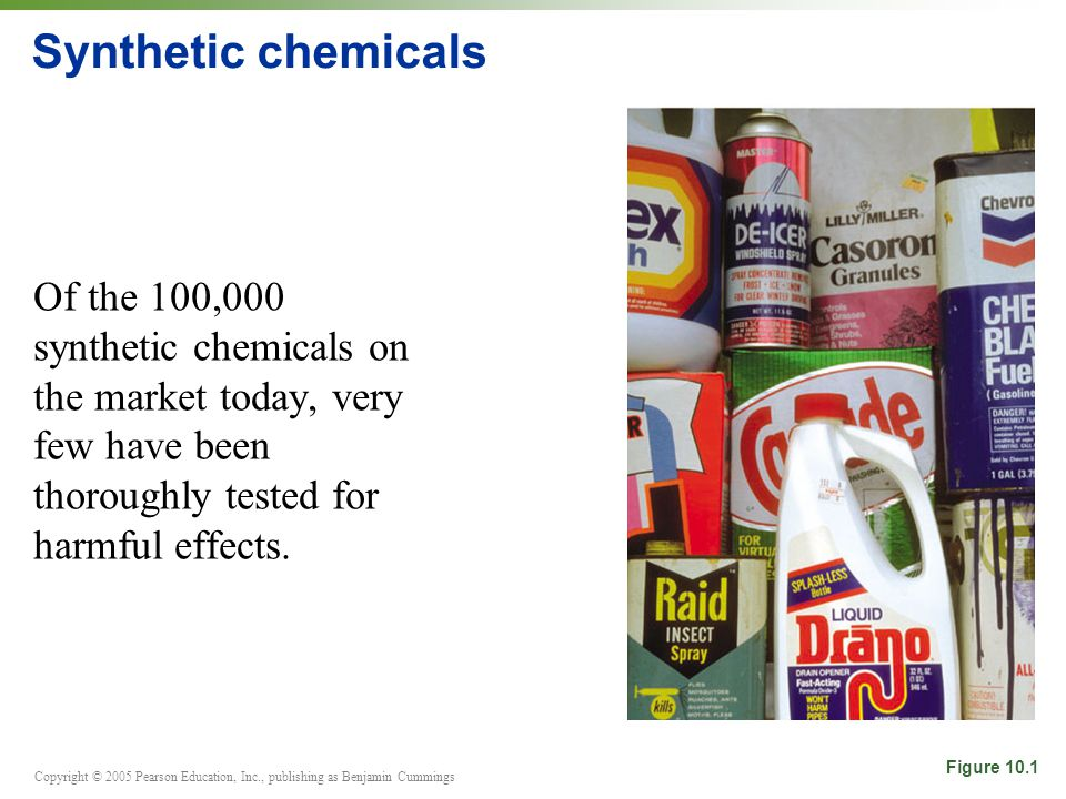 Copyright © 2005 Pearson Education, Inc., publishing as Benjamin Cummings Synthetic chemicals Of the 100,000 synthetic chemicals on the market today,