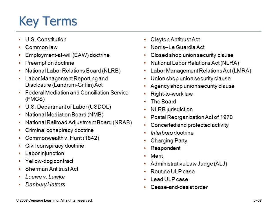 © 2008 Cengage Learning.All rights reserved.3–38 Key Terms U.S.