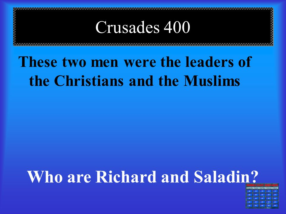 DAILY DOUBLE – Crusades 300 This is what Crusaders wore on their clothing and armor.