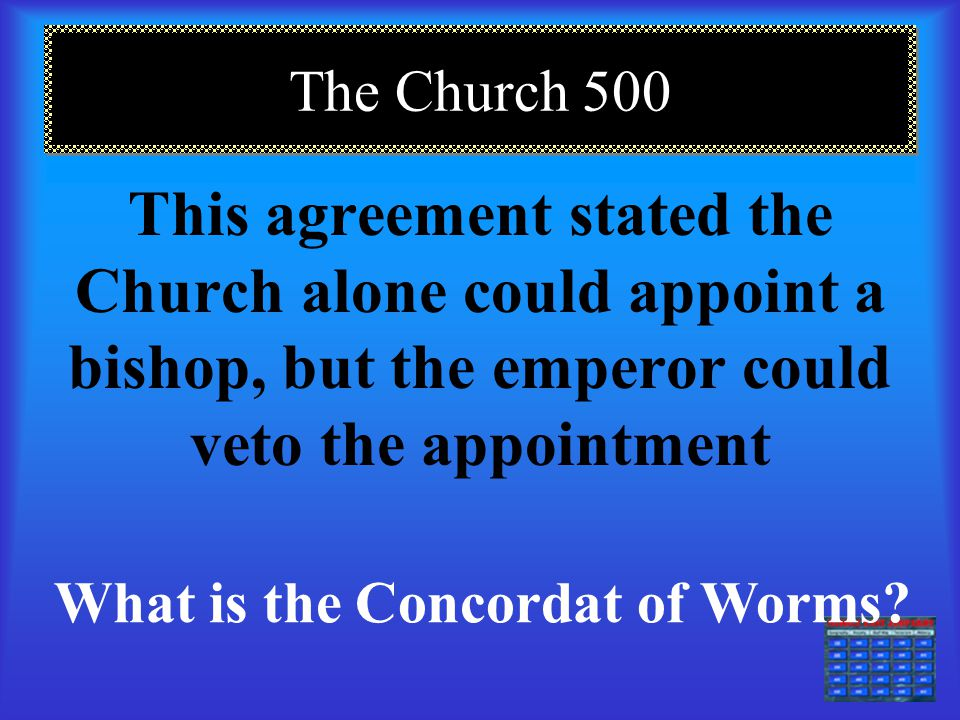The Church 400 This was the language of the Roman Catholic Church. What is Latin