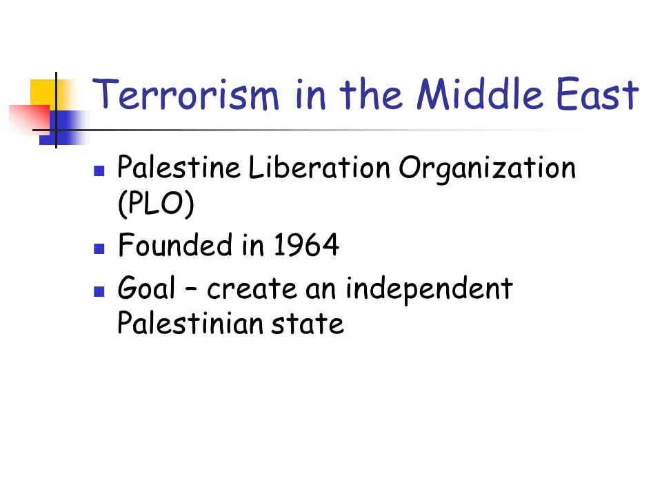 Terrorism in the Middle East Palestine Liberation Organization (PLO) Founded in 1964 Goal – create an independent Palestinian state