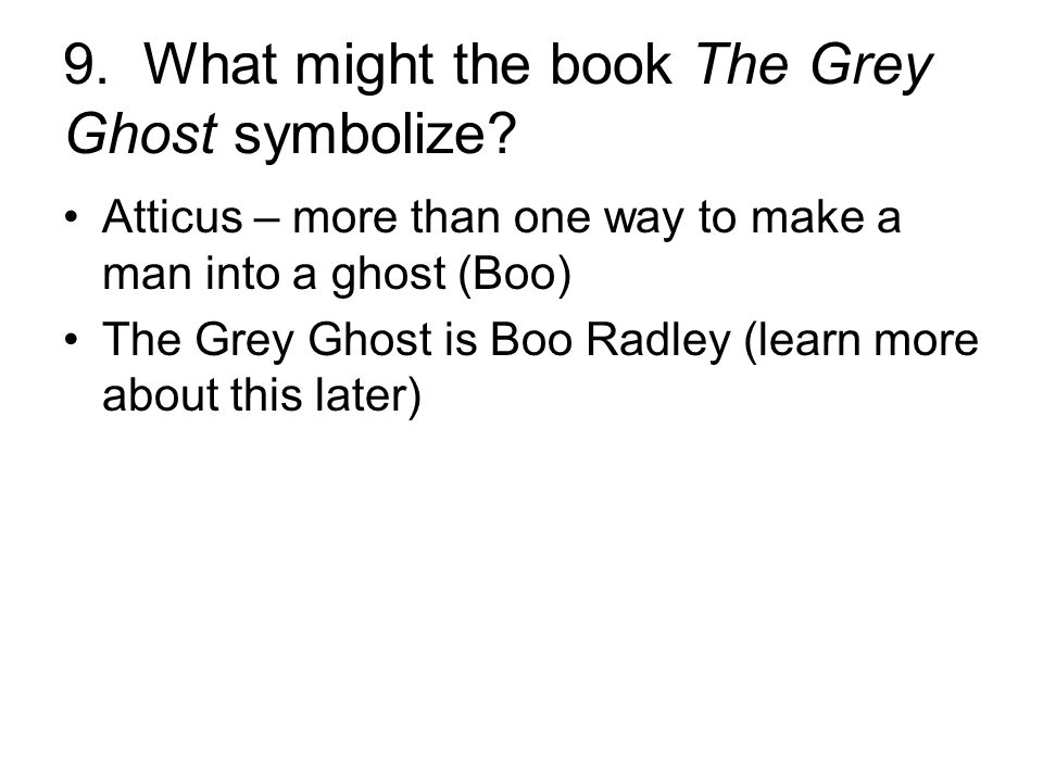 9. What might the book The Grey Ghost symbolize.