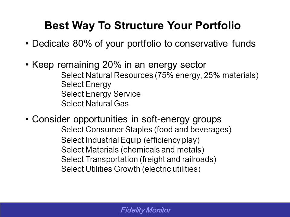 Fidelity Monitor Best Way To Structure Your Portfolio Dedicate 80% of your portfolio to conservative funds Keep remaining 20% in an energy sector Select Natural Resources (75% energy, 25% materials) Select Energy Select Energy Service Select Natural Gas Consider opportunities in soft-energy groups Select Consumer Staples (food and beverages) Select Industrial Equip (efficiency play) Select Materials (chemicals and metals) Select Transportation (freight and railroads) Select Utilities Growth (electric utilities)