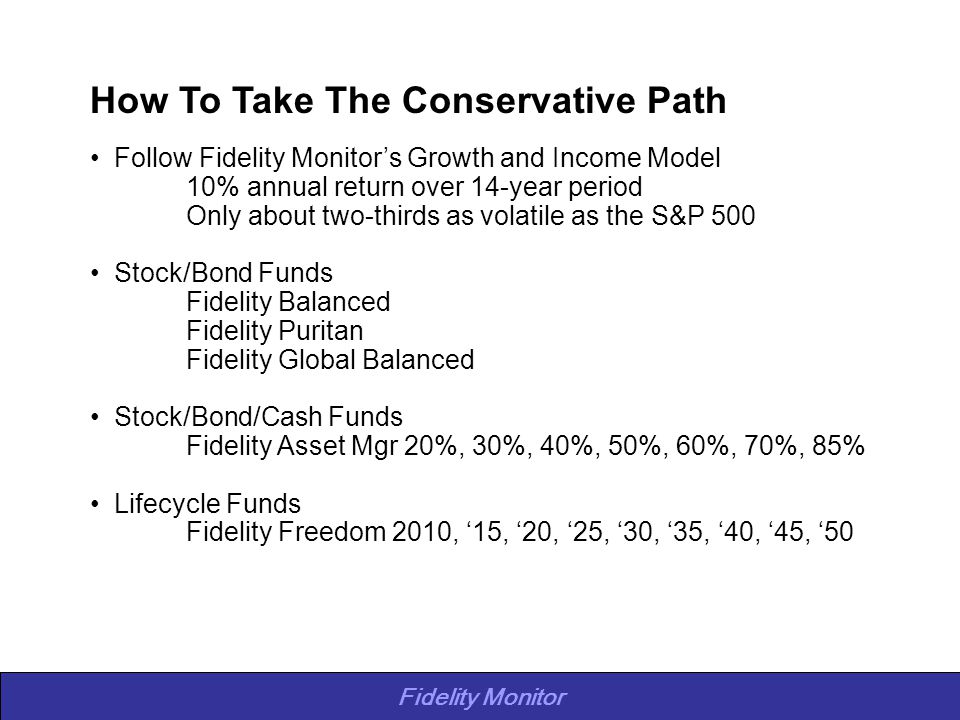 Fidelity Monitor How To Take The Conservative Path Follow Fidelity Monitor's Growth and Income Model 10% annual return over 14-year period Only about two-thirds as volatile as the S&P 500 Stock/Bond Funds Fidelity Balanced Fidelity Puritan Fidelity Global Balanced Stock/Bond/Cash Funds Fidelity Asset Mgr 20%, 30%, 40%, 50%, 60%, 70%, 85% Lifecycle Funds Fidelity Freedom 2010, '15, '20, '25, '30, '35, '40, '45, '50