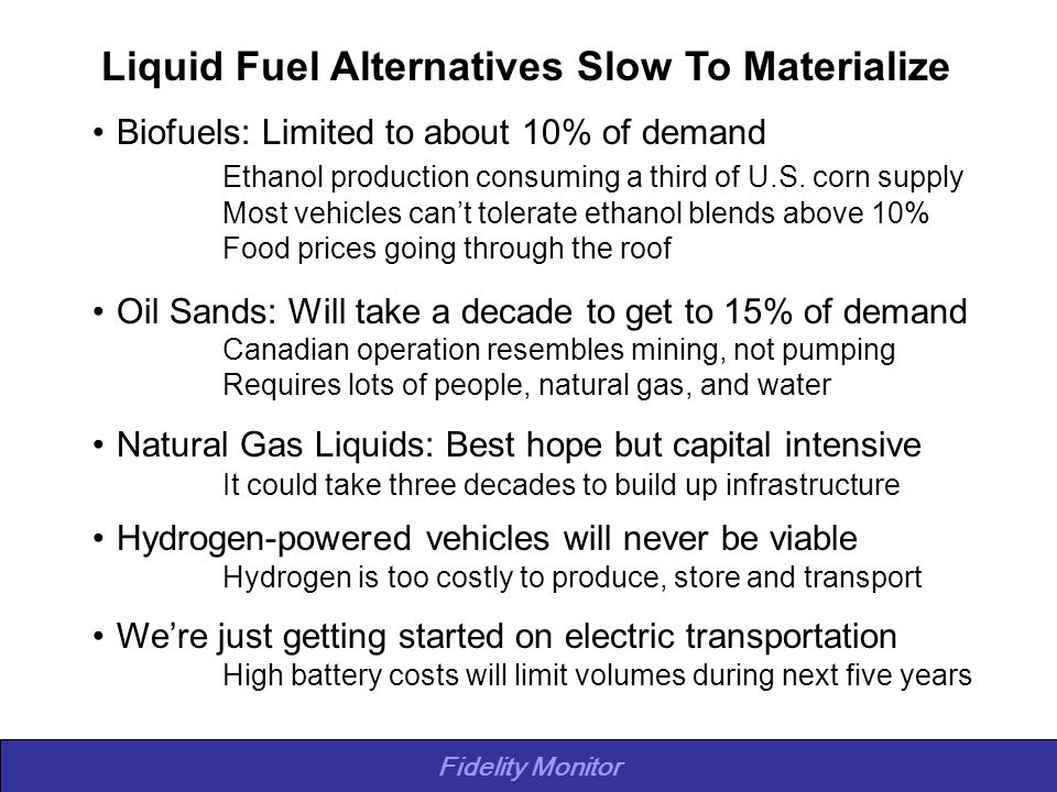 Fidelity Monitor Liquid Fuel Alternatives Slow To Materialize Biofuels: Limited to about 10% of demand Ethanol production consuming a third of U.S. co
