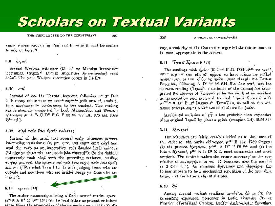 Scholars on Textual Variants