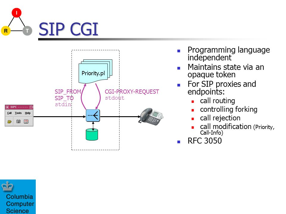 SIP CGI Programming language independent Maintains state via an opaque token For SIP proxies and endpoints: call routing controlling forking call reje