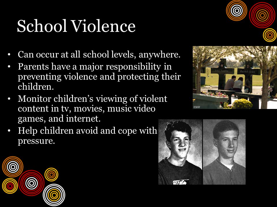 School Violence Can occur at all school levels, anywhere.
