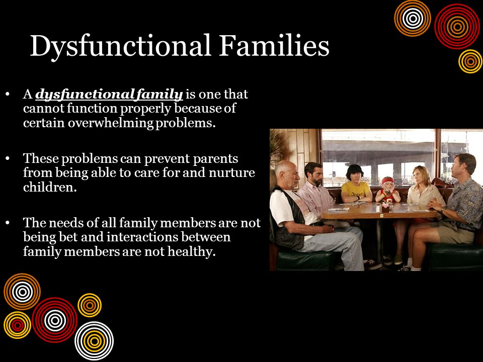 Dysfunctional Families A dysfunctional family is one that cannot function properly because of certain overwhelming problems.