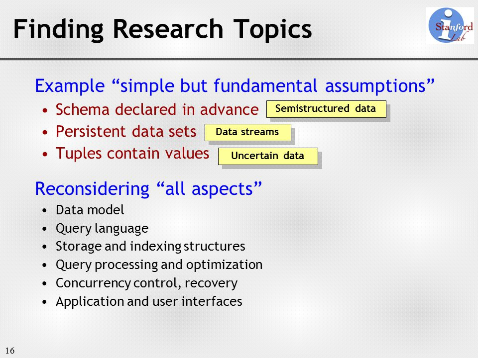 16 Example simple but fundamental assumptions Schema declared in advance Persistent data sets Tuples contain values Reconsidering all aspects Data model Query language Storage and indexing structures Query processing and optimization Concurrency control, recovery Application and user interfaces Finding Research Topics Semistructured data Data streams Uncertain data