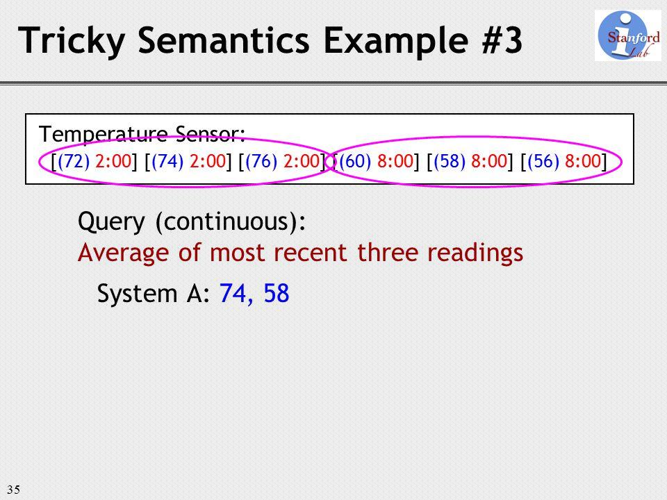 35 Tricky Semantics Example #3 Temperature Sensor: [(72) 2:00] [(74) 2:00] [(76) 2:00] [(60) 8:00] [(58) 8:00] [(56) 8:00] Query (continuous): Average