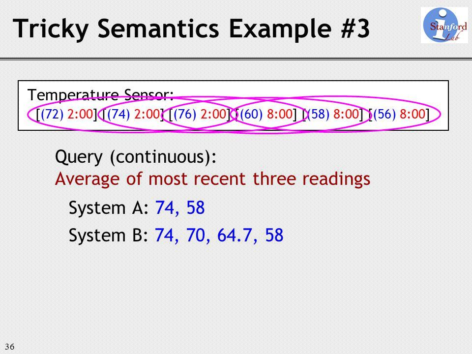 36 Tricky Semantics Example #3 Temperature Sensor: [(72) 2:00] [(74) 2:00] [(76) 2:00] [(60) 8:00] [(58) 8:00] [(56) 8:00] Query (continuous): Average