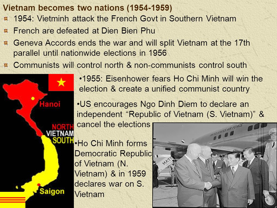 Vietnam becomes two nations (1954-1959) 1954: Vietminh attack the French Govt in Southern Vietnam French are defeated at Dien Bien Phu Geneva Accords