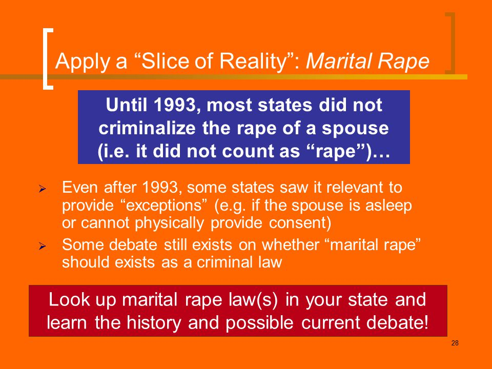"28 Apply a ""Slice of Reality"": Marital Rape  Even after 1993, some states saw it relevant to provide ""exceptions"" (e.g. if the spouse is asleep or ca"