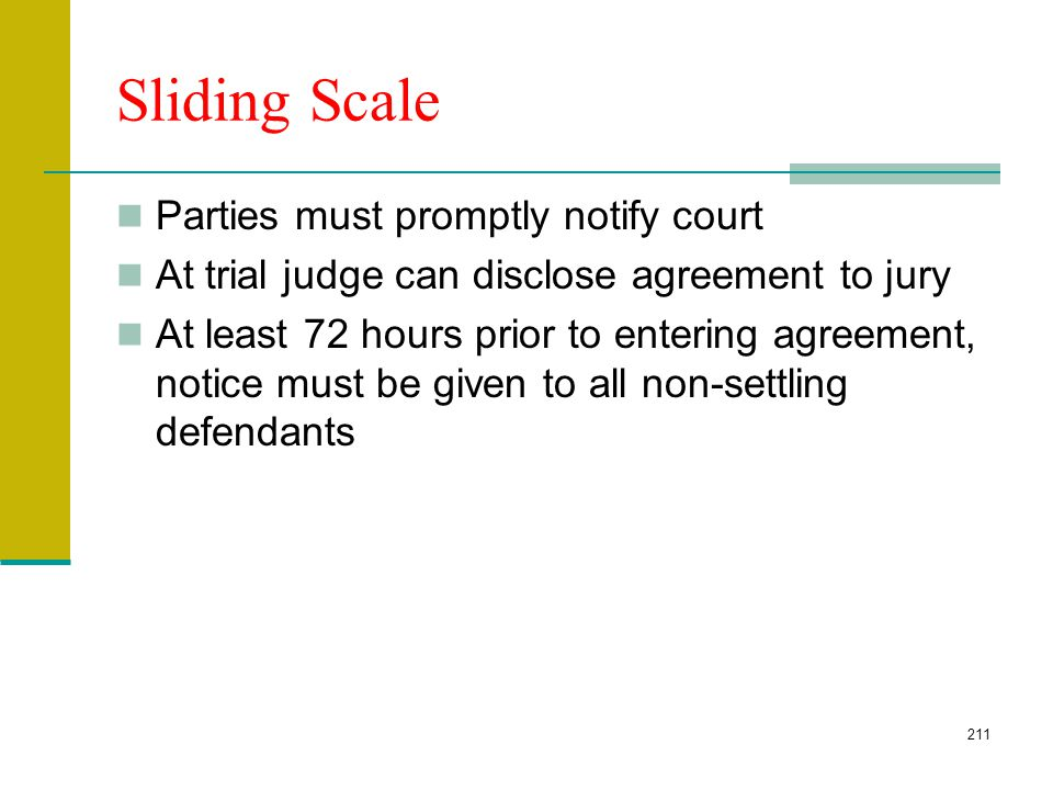 210 Sliding Scale Settlements CCP 877.5 Agreement between plaintiff and some defendants, but not all, limiting liability of the agreeing defendants to