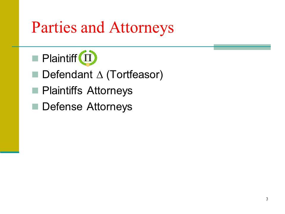 3 Parties and Attorneys Plaintiff Defendant  (Tortfeasor) Plaintiffs Attorneys Defense Attorneys
