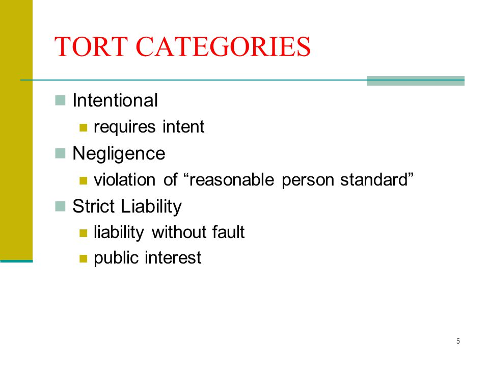 25 Types of Intentional Torts Torts against Persons Battery, Assault, False imprisonment, intentional inflict of mental distress Defamation (slander and libel); invasion of privacy; malicious prosecution and abuse of process Torts against Property trespass to land, trespass to chattels and conversion; Property includes intellectual property (infringement)