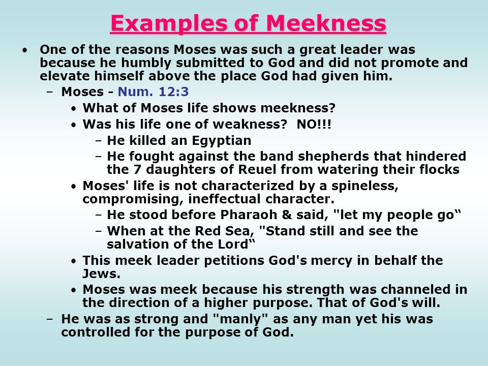 Examples of Meekness One of the reasons Moses was such a great leader was because he humbly submitted to God and did not promote and elevate himself a