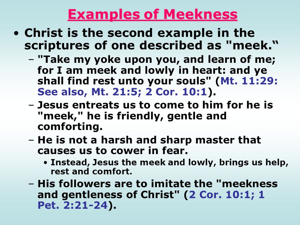 Examples of Meekness Christ is the second example in the scriptures of one described as