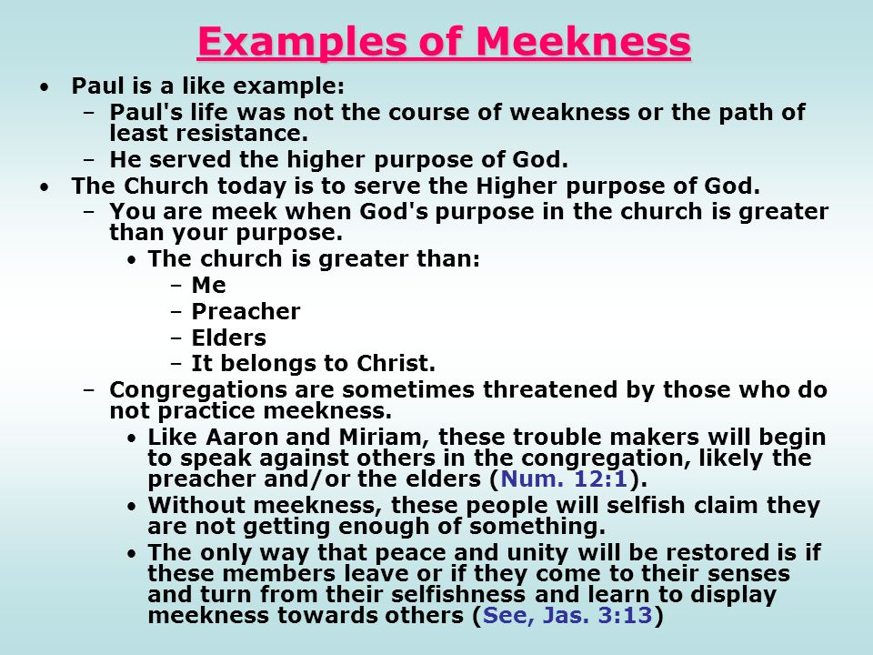 Examples of Meekness Paul is a like example: –Paul's life was not the course of weakness or the path of least resistance. –He served the higher purpos