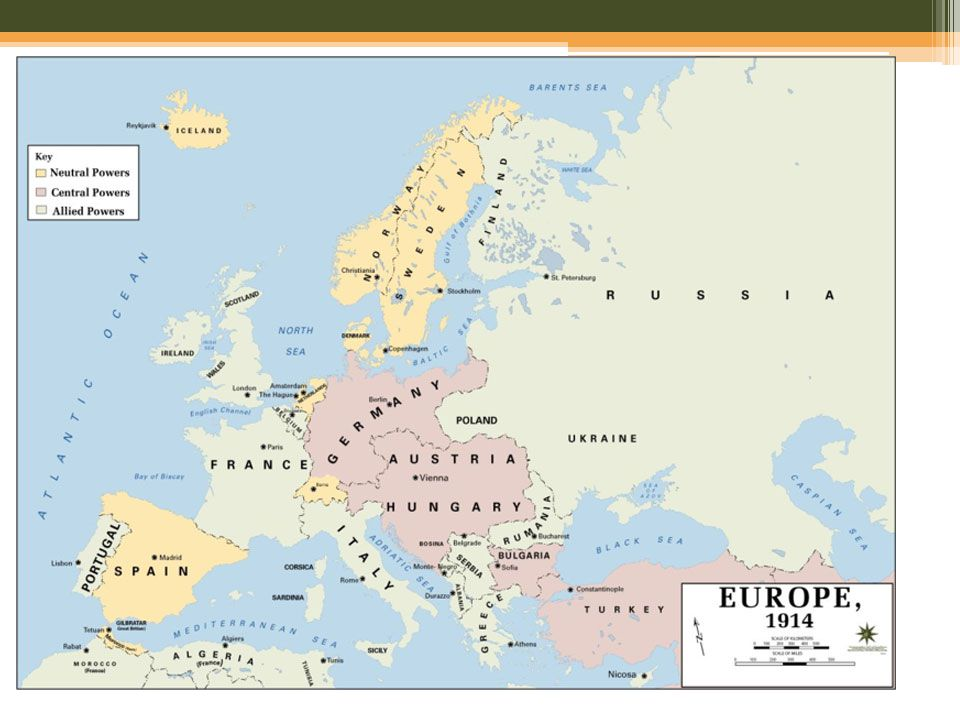 TIMELINE 8/1/1914 Germany declares war on Russia 8/3/1914 Germany declares war on France 8/4/1914 Britain declares war on Germany 8/6/13 AH declares war on Russia 8/12/1914 AH declares war on GB and France