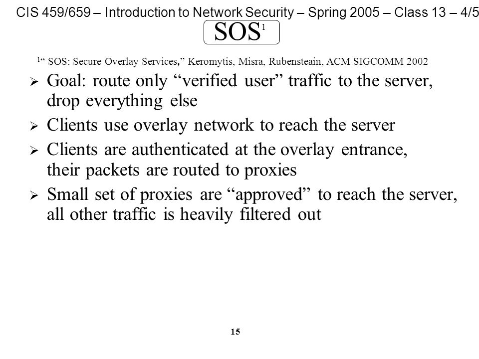 CIS 459/659 – Introduction to Network Security – Spring 2005 – Class 13 – 4/5/05 15 SOS 1  Goal: route only verified user traffic to the server, drop everything else  Clients use overlay network to reach the server  Clients are authenticated at the overlay entrance, their packets are routed to proxies  Small set of proxies are approved to reach the server, all other traffic is heavily filtered out 1 SOS: Secure Overlay Services, Keromytis, Misra, Rubensteain, ACM SIGCOMM 2002